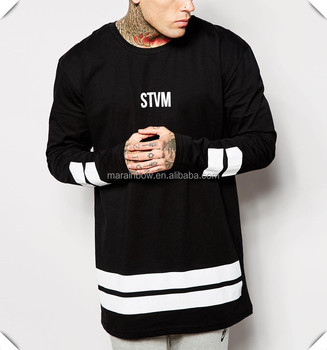 523cf627b9a11b Black 100% Cotton Mens Long Sleeve T shirt Fashion Street Wear Custom  Printed Oversized T