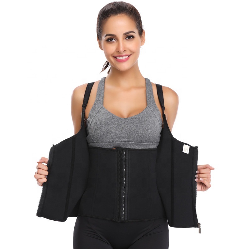 Waist Trainer <strong>Corset</strong> for <strong>Weight</strong> <strong>Loss</strong> Women Sauna Sweat Vest Workout Tank Top Body Shaper with Zipper