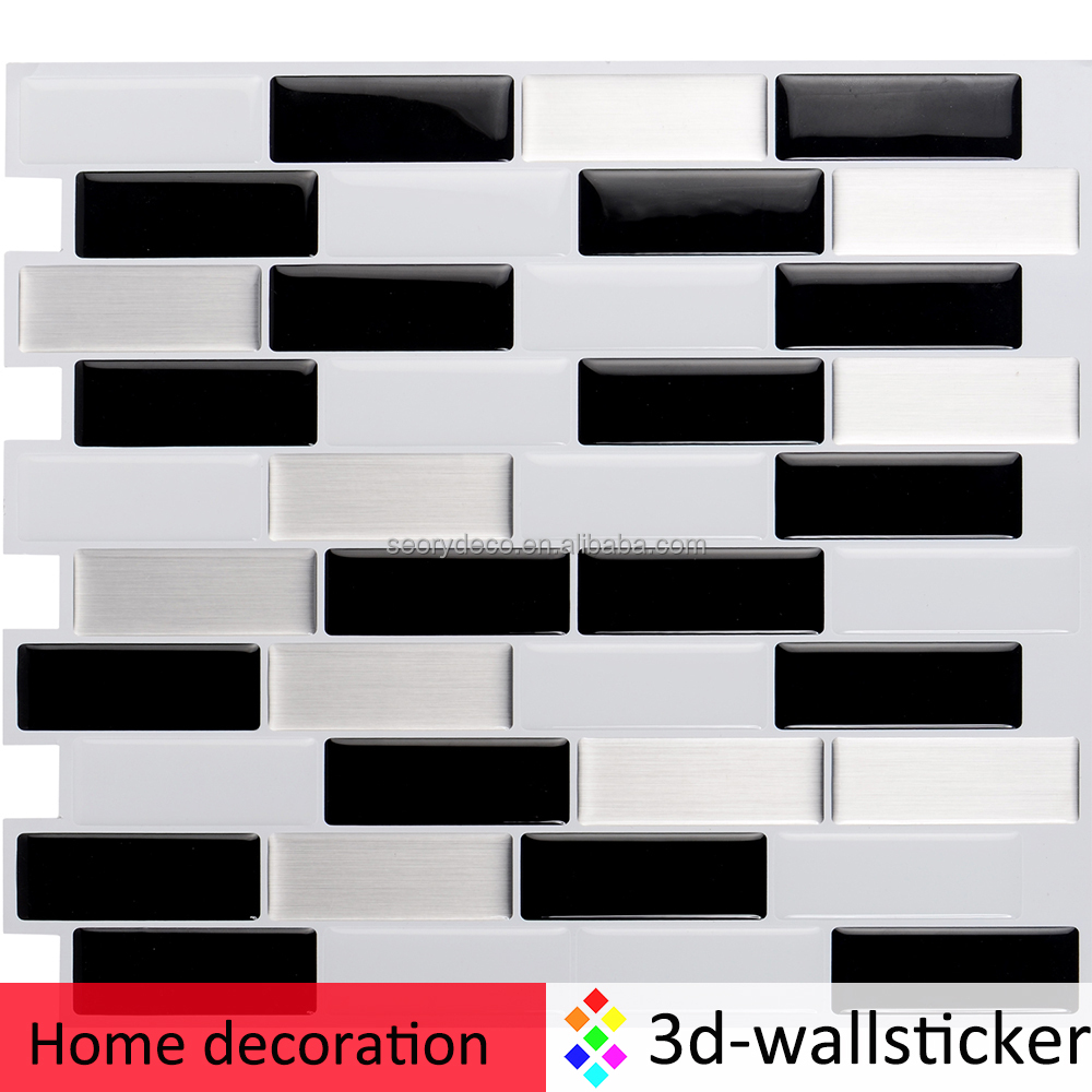 Mosaic Vinyl Wall Sticker Peel And Stick Kitchen Backsplash Tile In ...