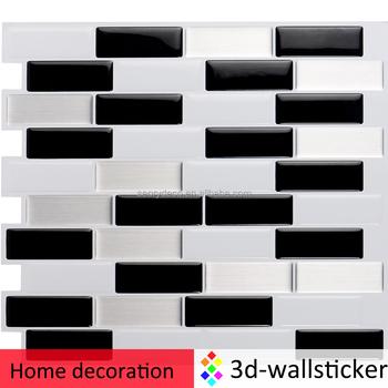 Mosaik Vinyl Wandaufkleber Schälen Und Stick Küche Backsplash Fliesen In  Schwarz Und Weiß Längliche