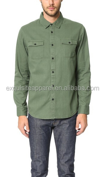 Custom 100% Cotton Army Green Twill Fabric Mens Button Up Shirts ...