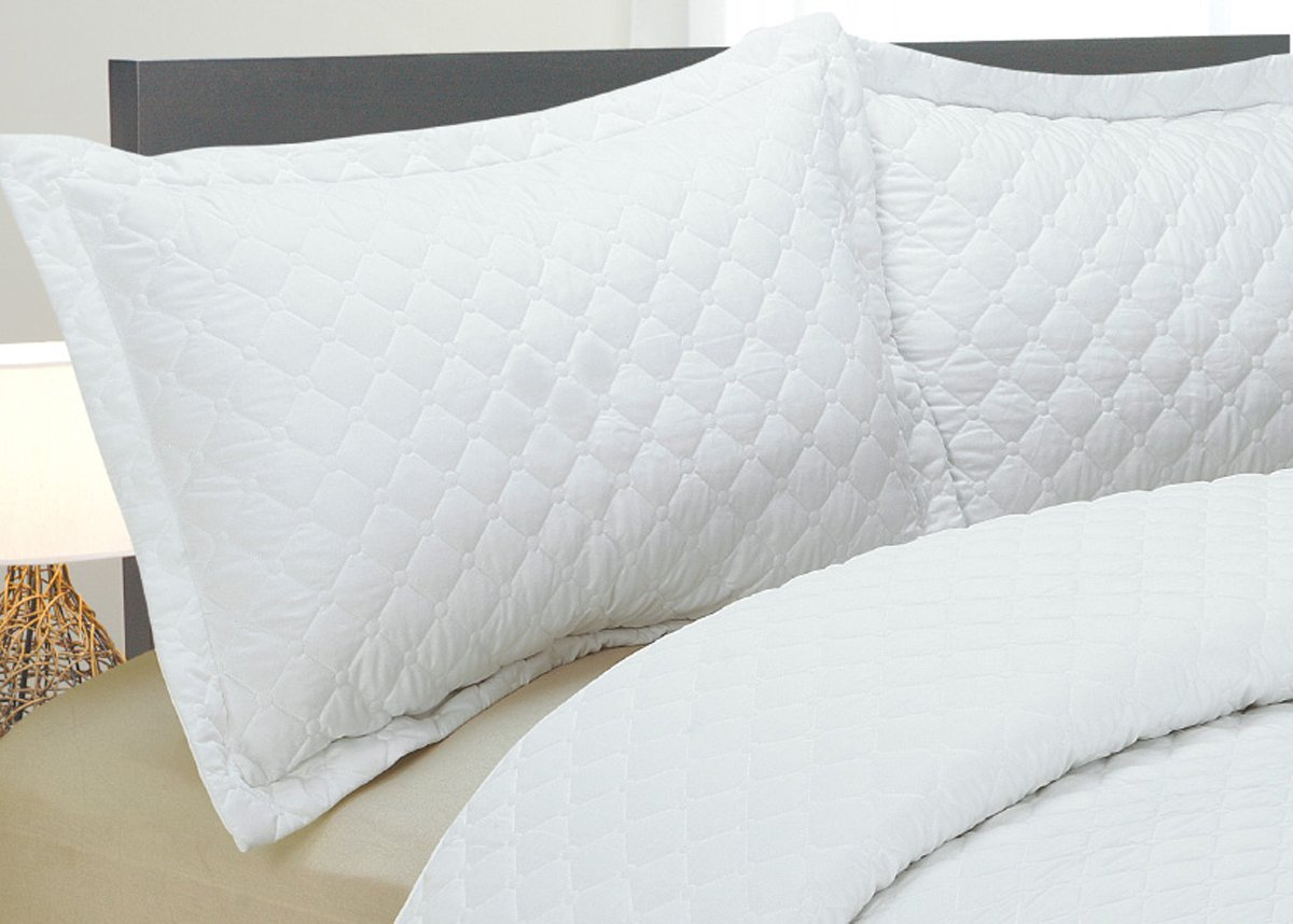 Natural Comfort Luxury Lines Microfiber Quilted Bedding Set, Full, White