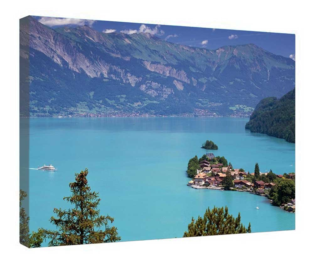 "LeeQueen Canvas Prints Wall Art - Iseltwald Switzerland On Beautiful Lake Brienz - Wood Board Background Stretched Canvas Wrap Ready to Hang for Home and Office Decoration - 24"" x 16"""