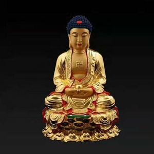 LIFE SIZE BUDDHA SITTINGGUANYIN CANSHEN STANDING RED FACE GUANGONG FIGURINES WITH REAL GOLD COATED