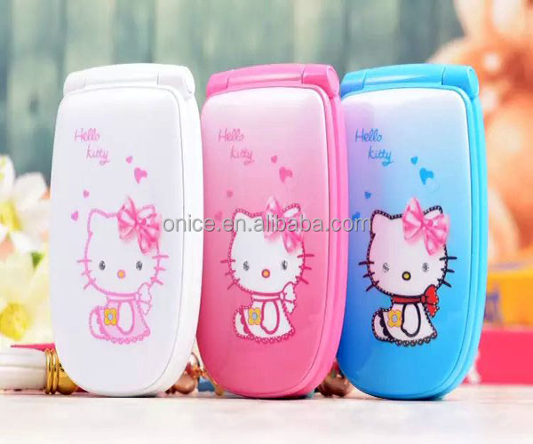 W88 Hello kitty singal sim flip mobile phone with Running light