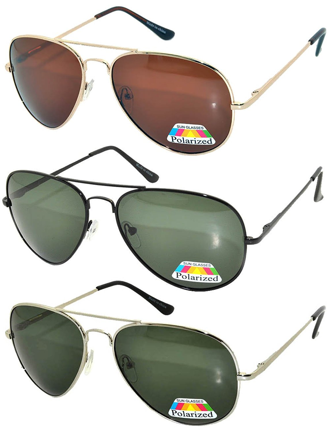 554f183c279 Get Quotations · Set of 3 Classic Aviator Polarized Lens Sunglasses Colored  Metal Frame Spring Hinge (3 Pairs