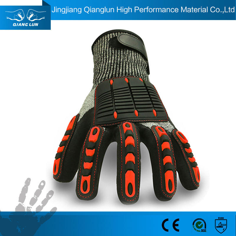 Qianglun 2016 13G nitrile coated work gloves with tpr