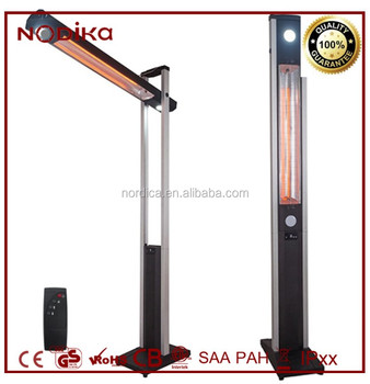 Free Standing Two Ways Patio Heater Infrared Electric Carbon Fiber With Led Light