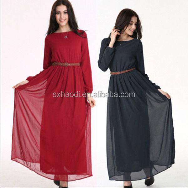Hd-md33 Plus Size Double Layer Indonisia Long Sleeve Muslim Chiffon  Dress/malaysia Maxi Women Dress - Buy Muslim Women /malaysia Women  Dress,Muslim ...