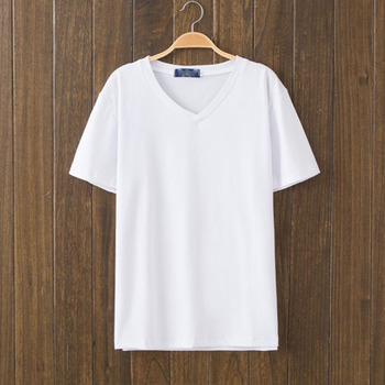Custom bulk men's white t shirts cotton blank v neck as colour tshirt