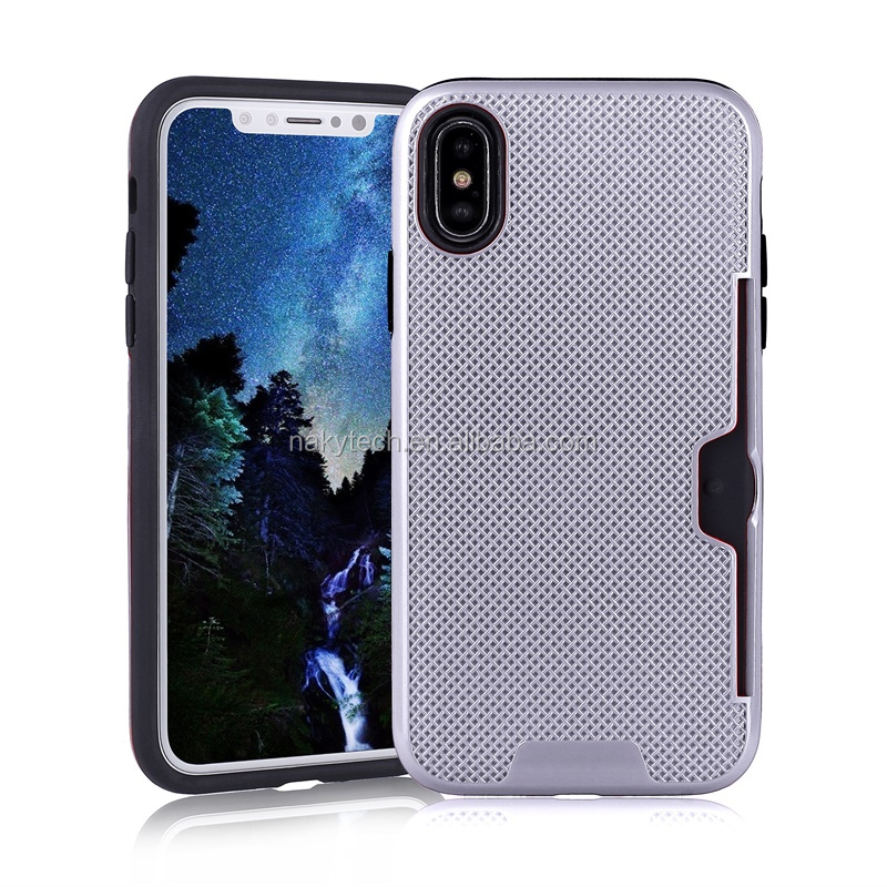 Wholesale factory price gridding TPU+PC with card slots protective cell phone case for iphone X