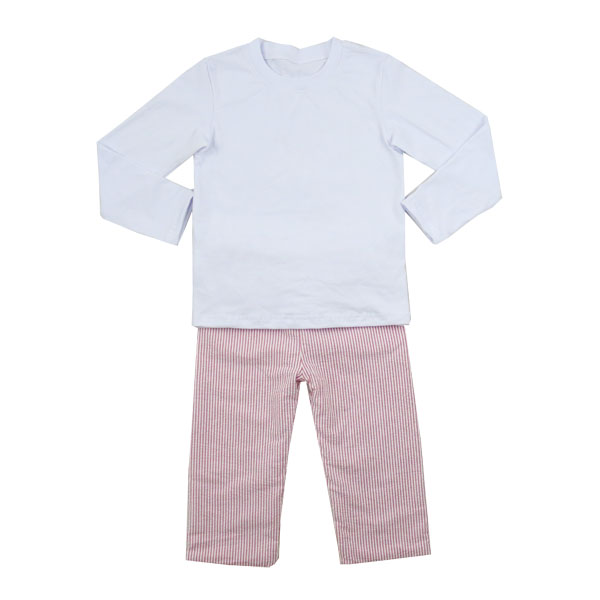 Boys Clothing Sets Kids Summer long sleeve shirt with seersucker pants set baby boys kids children cheap Baby Boy Clothes