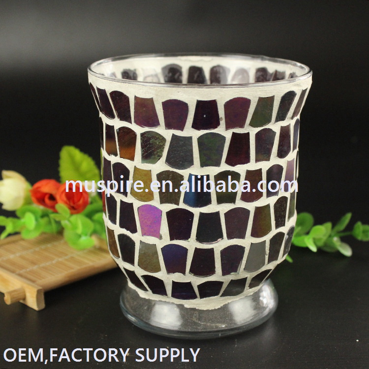 2017 Modern Design mosaic glass candle cups candle holder