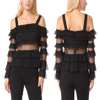 Sexy See Through Blouse Off the Shoulder for Women black chiffon tops