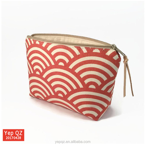 Popular high quality orange color canvas new design small makeup pouch customized wholesale toiletry and cosmetic bags
