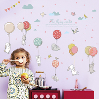 EN71 The Flying Rabbit Removable Animal Baby Wall Sticker