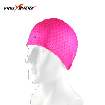 Large size pure color silicone long hair swim caps for women