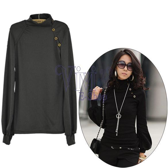 2015 Casual Style Autumn Womens Shirts Lantern Long-sleeved Turtleneck T-shirts Tops Black White Pullover roupas femininas ZYQ