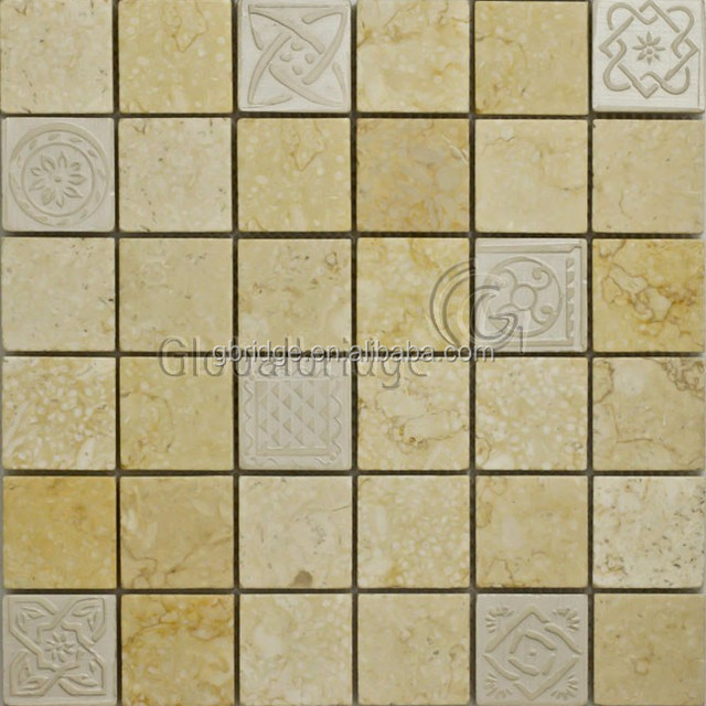 square carving stone yellow mosaic for wall &kitchen