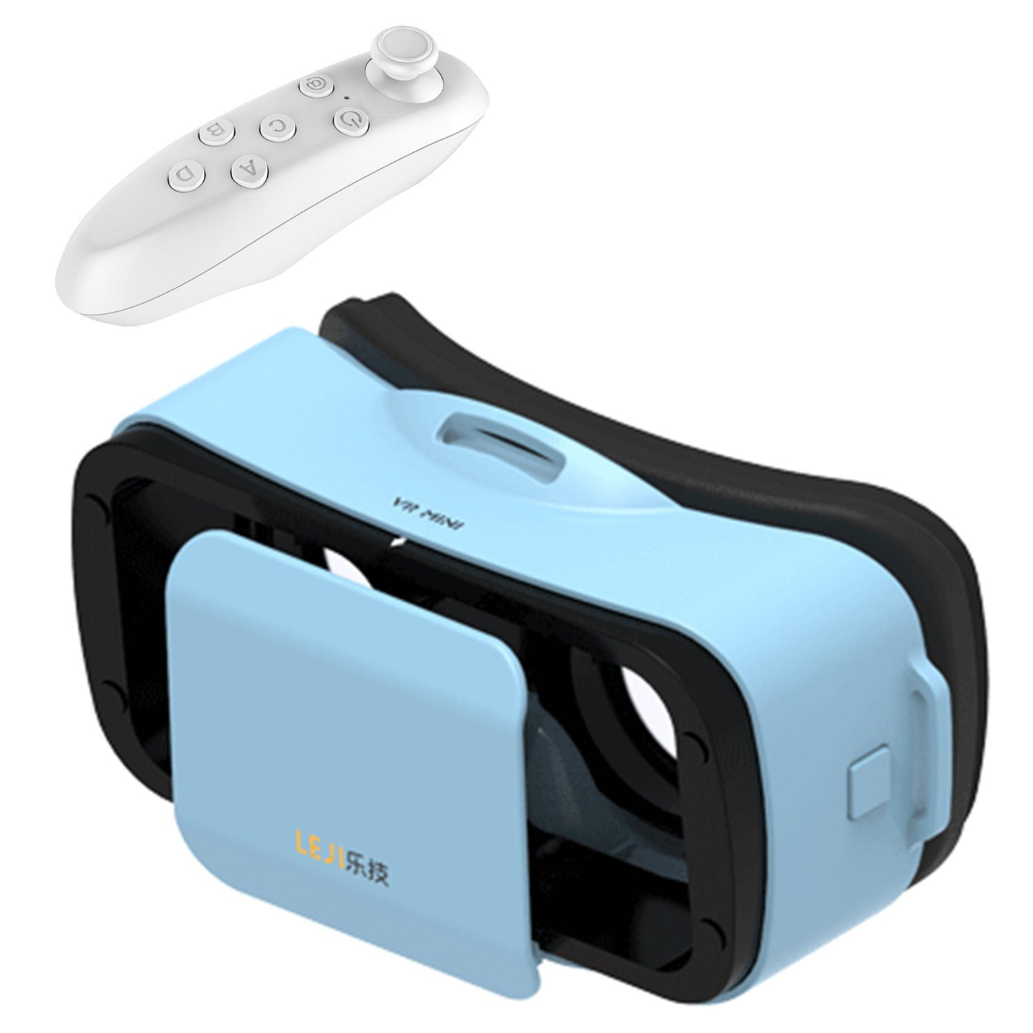 "Mini 3D VR Glasses/Headset, Tsanglight Virtual Reality Headset + Remote Controller for IOS iPhone 7/6/6S Plus, Android Samsung Galaxy S7 Edge S7/6 /J7/A5/A3 2016 & Other 4.5""-5.5"" Cellphone - Blue"