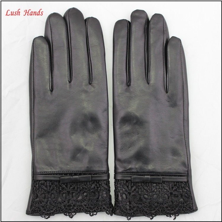 ladies sheepskin leather hand gloves with lace black