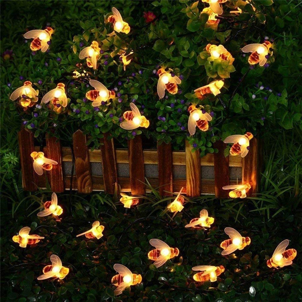 Waterproof Solar String Lights Solar Powered Honey Bee Fairy String Lights LED Garden Lights for for Garden Patio Trees Flower Fence Grass Lawn Party