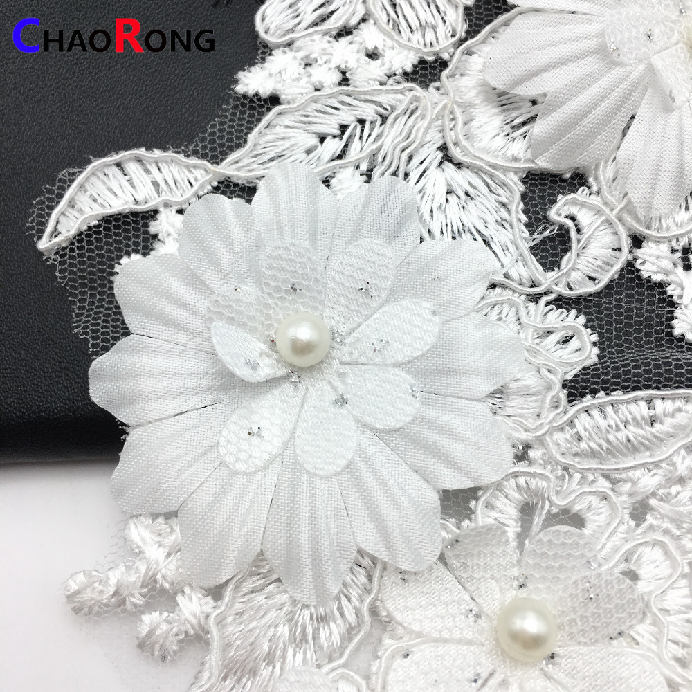 CRN0436 fashion white flower Embroidery beaded applique