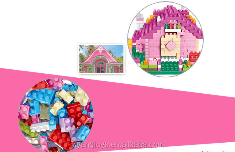 DIY toy easy assembled princess house amazon echo educational building blocks juguetes