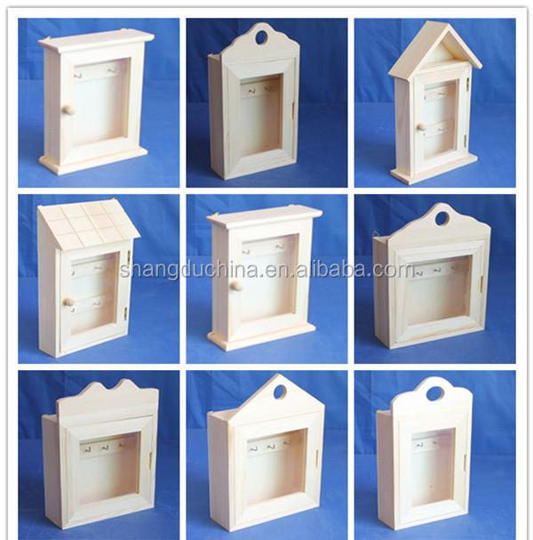 Unfinished Decorative Wooden Wall Mounted Key Storage Box ...