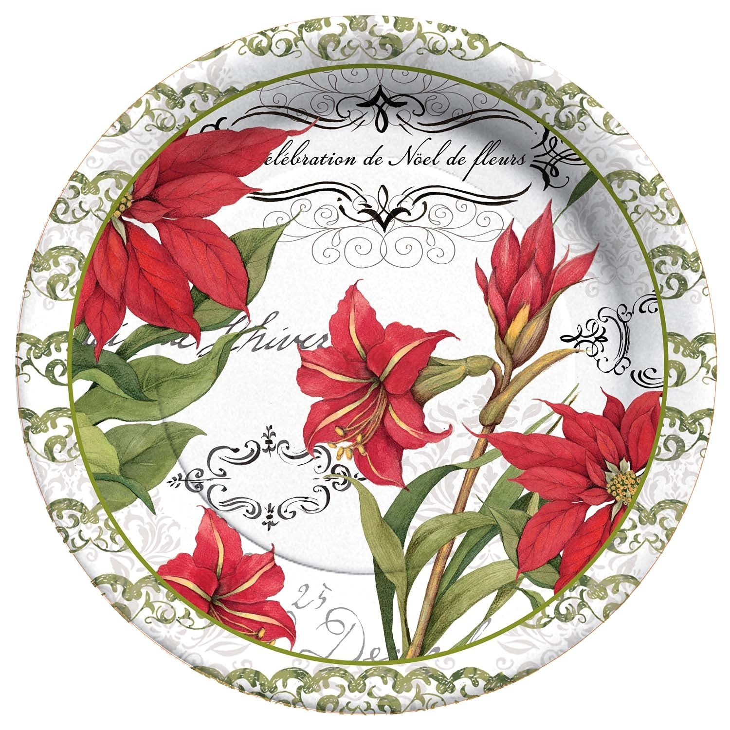 get quotations cr gibson 8 count botanical christmas paper dinner plates - Christmas Dishes Cheap