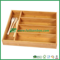 FB5-1002 Bamboo Kitchen storage Cutlery Tray 5 compartments container