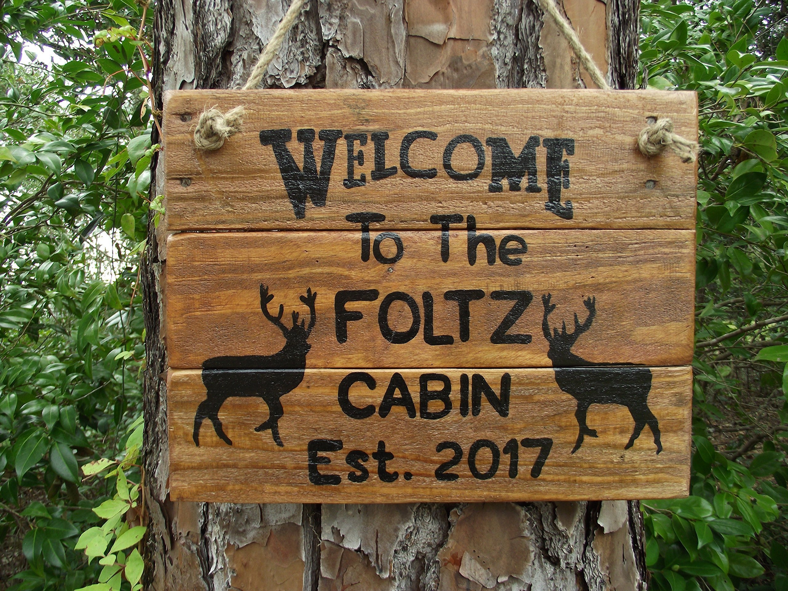 Personalized cabin sign | Personalized deer cabin sign| Rustic cabin sign| custom cabin decor| deer camp sign|hand painted deer cabin sign