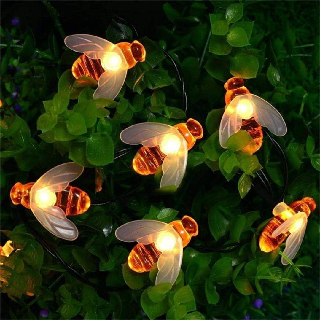 Rumas LED Light, 30 LED Solar String Honey Bee Shape Warm Light Garden Decoration Waterproof Lamp Light