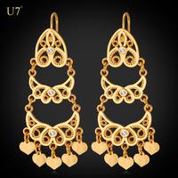 U7 Tassels Long Earrings Women Jewelry Trendy 18k Gold/Platinum Plated Vintage India Drop Earrings Wholesale