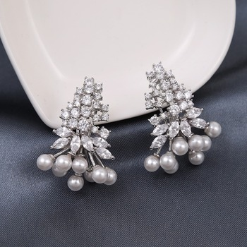 New Las Costume Jewellery Design Small Pearl And White Zircon Stone Wedding Earrings From Thailand