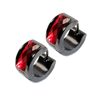 Fashion Surgical Steel Black Plated Red Blue Rhinestone Jeweled Hoop Earrings