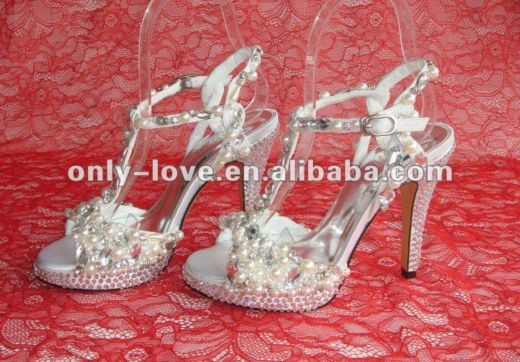 BS356 custom make designer women high heel pearls wedding sandals
