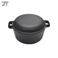 Heavy Duty Pre-Seasoned 2 In 1 Cast Iron Double and Domed Skillet Lid Dutch Oven 26cm