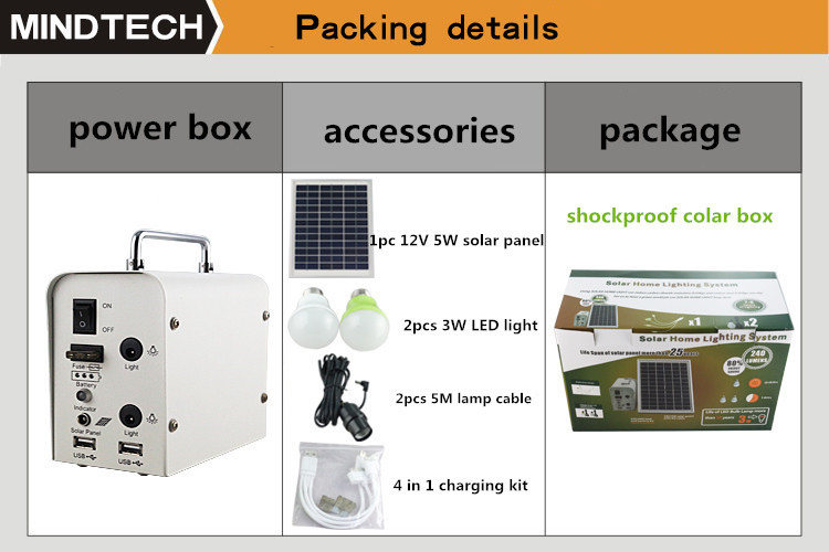 < Mindtech Solar> DC portable solar system with 10W 20W 30W for indoors