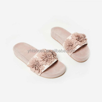 d85423b6f women stylish floral slide sandals china supplier ladies faux suede slippers