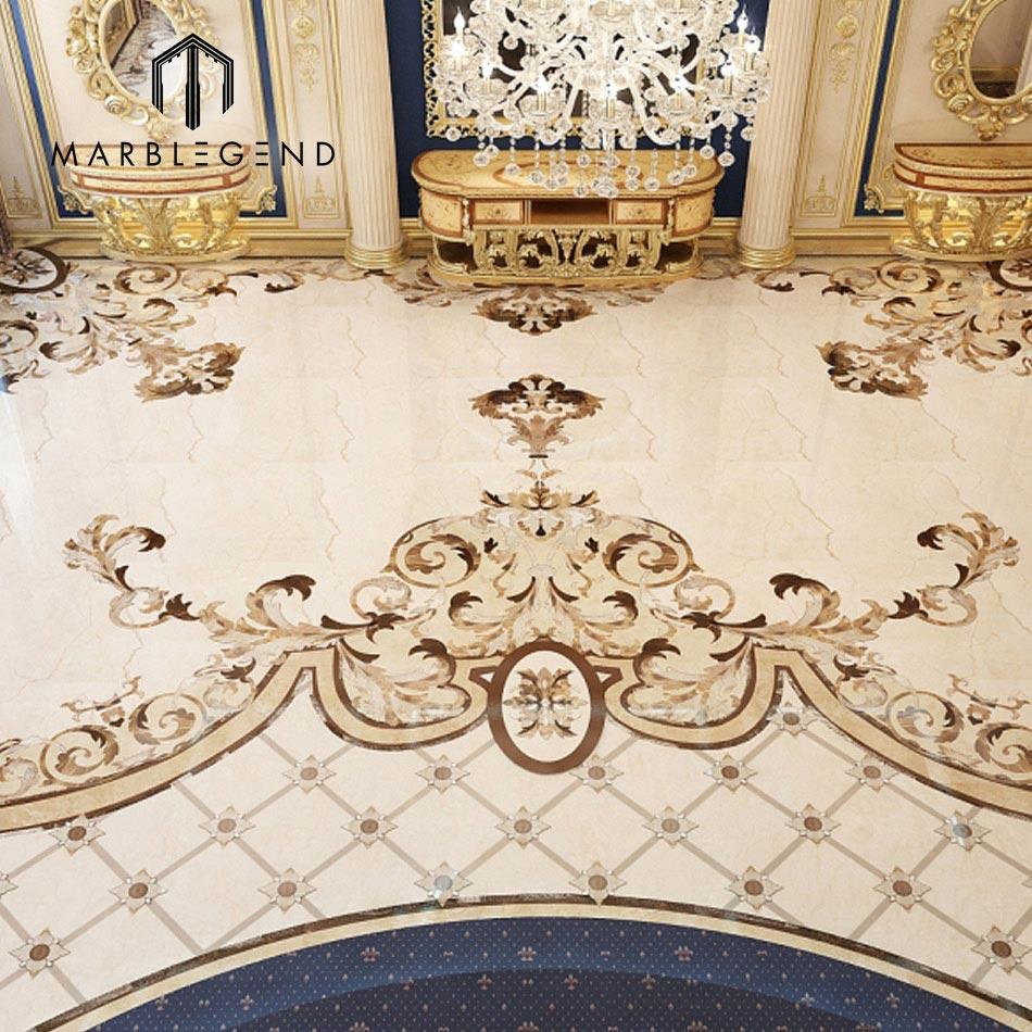 Custom Arabic Majlis Flooring Waterjet Tile Marble Medallion Designs For Product On