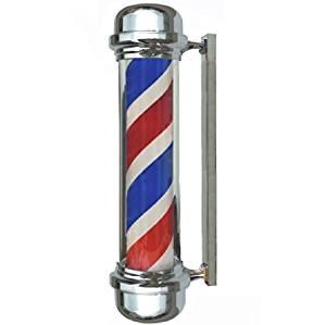 "28"" Barber Pole Light Red White Blue Stripes Rotating Metal Hair Salon Shop Sign"