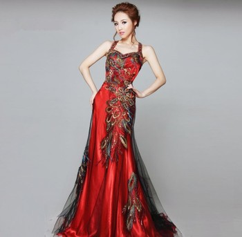 Stock Dress Chinese Phoenix Beaded Embroidery Sleeveless Mermaid