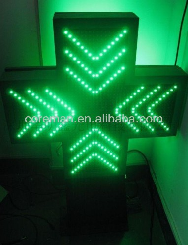 russian language symbol display /animation p10 single green /1G led pharmacy cross/led pharmacy cross sign