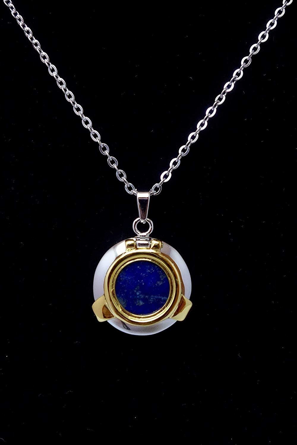 Genuine Lapis Lazuli Pendant Necklace, Nautical Blue Steampunk Porthole Necklace Unique Birthday Wedding Anniversary Gift for Her