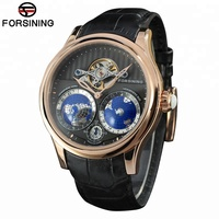 Forsining 2017 Earth Real Tourbillion Multi-dimensional Designer Mens Watches Top Brand Luxury Fashion Casual Automatic Watch