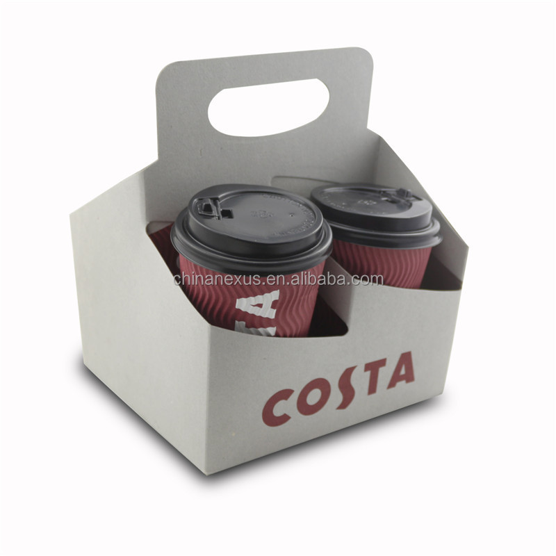 Grey Paper Coffee Cup Holder With Handle For 4 Cups