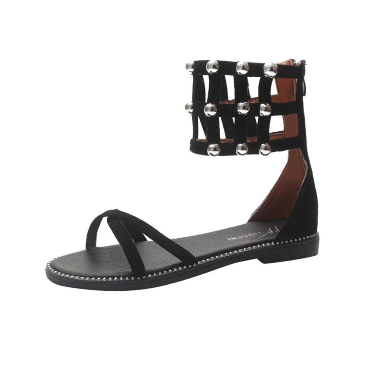 73714ebb6 Get Quotations · Summer Sandals Flat Casual Platform Sandals Wedges Shoes  Flat Sandals Women Black 6