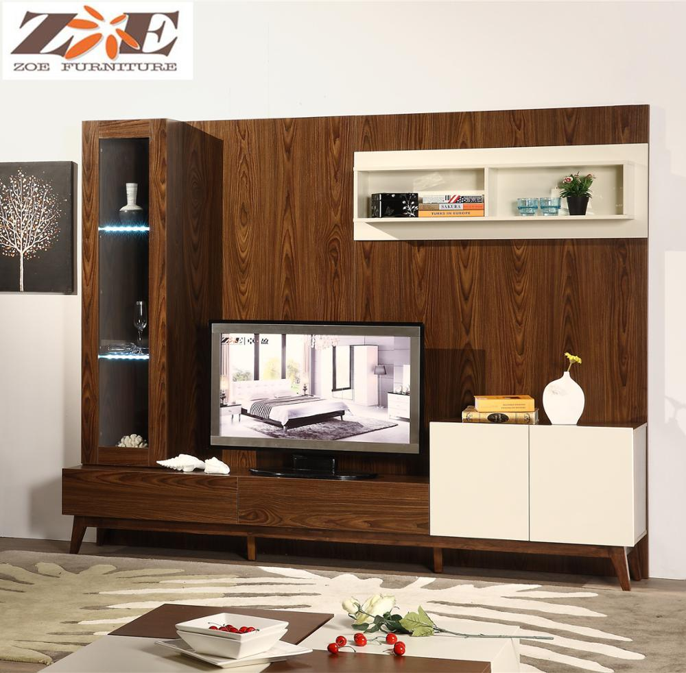 Living Room Furniture Wall Panel With Lcd Wood Led Tv Wall Unit