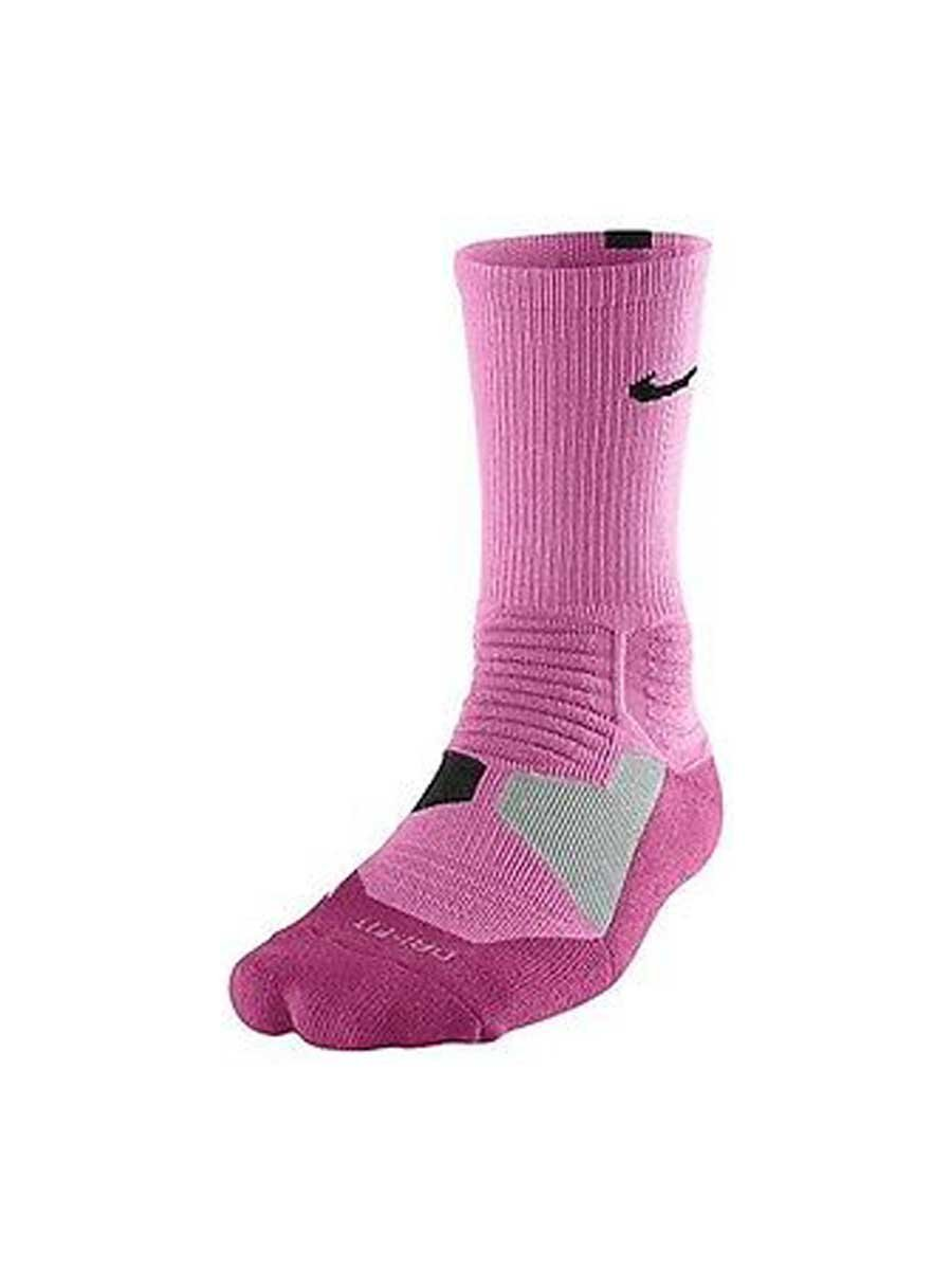sports shoes dc55b 84329 Get Quotations · Nike Hyper Elite Men s Basketball Crew Socks Pink   Black  (Large)